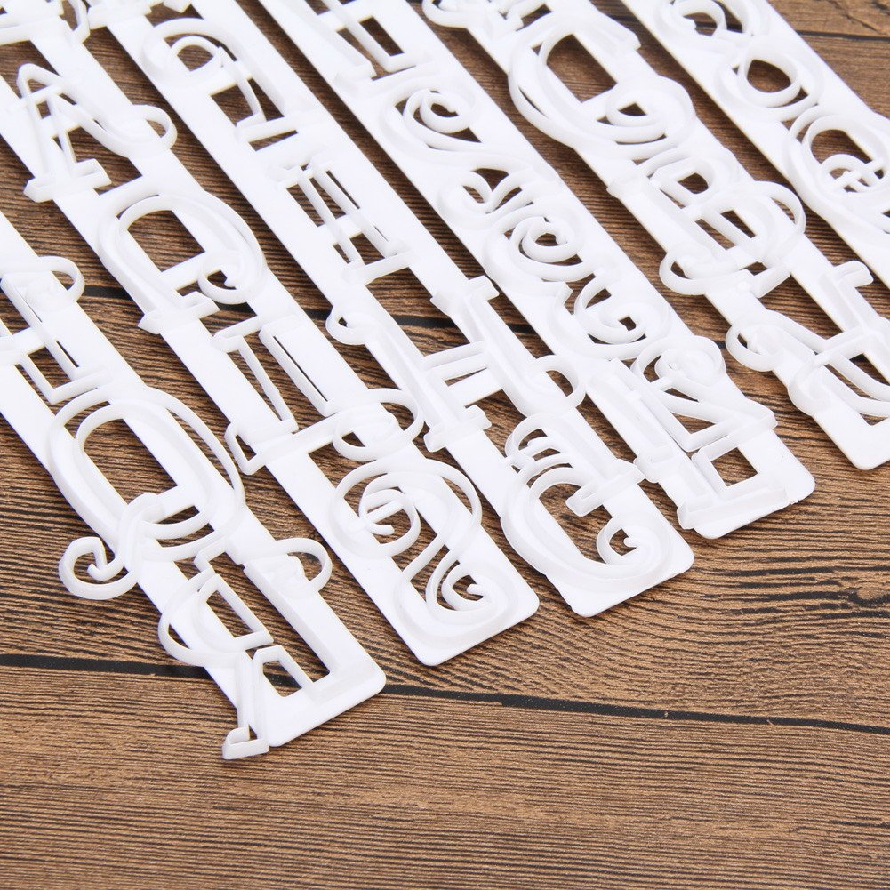 6 PCS Alphabet Cookie Stamp Set, Including Letters Upper Case, Numbers and Punctuation Stamps for Decorating for Cookies, Cake, Fondant, and Paste - Baking Impress Cutter DIY Mold Stencil Tools