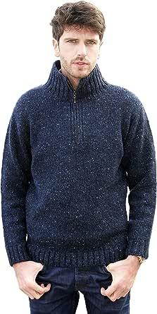 Aran Crafts Half Zip Sweater (100% Donegal Wool)