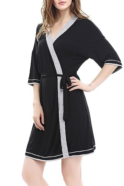 Women Robe V Neck Kimono Robes Soft Lightweight Bathrobe Knit Sleepwear  Blcak XS Black d767e89e5