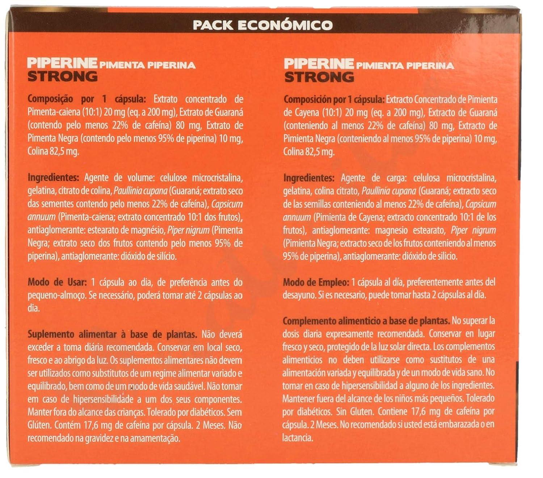 Novity Piperina 60 capsulas, Pimienta Negra, Guarana, Cayena y Colina, Alto poder quema grasas, la mejor sinergia, détox del hígado, para adelgazar ...