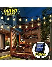 iihome 50 LED Solar String Lights Outdoor Waterproof Solar-Powered Crystal Ball Decorative Lights for Garden, Patio, Yard, Home, Chrismas Tree, Parties, Warm White, 22feet