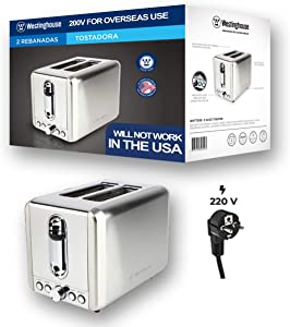 Westinghouse 220 volts Toaster Stainless steel 2 slice WKTT009 220v 240 volts (NOT FOR USE IN USA)