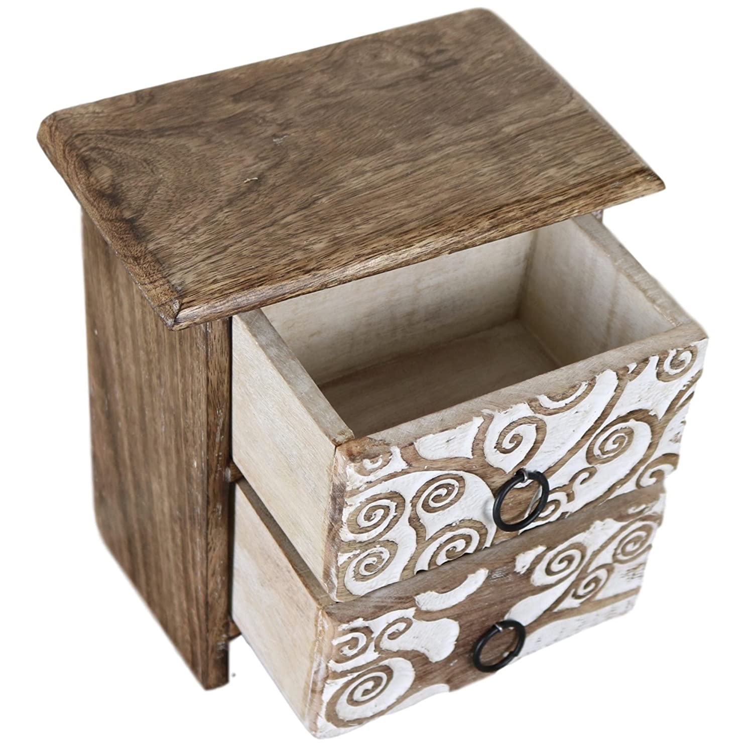 Handcrafted Tree of Life Set of Carved Wood Drawers Chest Decorative Storage Box 2D-01 Ferus /& Fivel