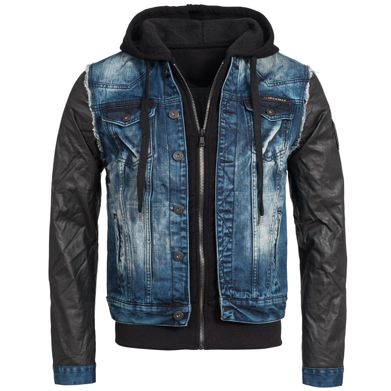 &AMP, Cipo Baxx Men's Jeans Denim Jacket transition Sleeves C-1290 Faux Leather