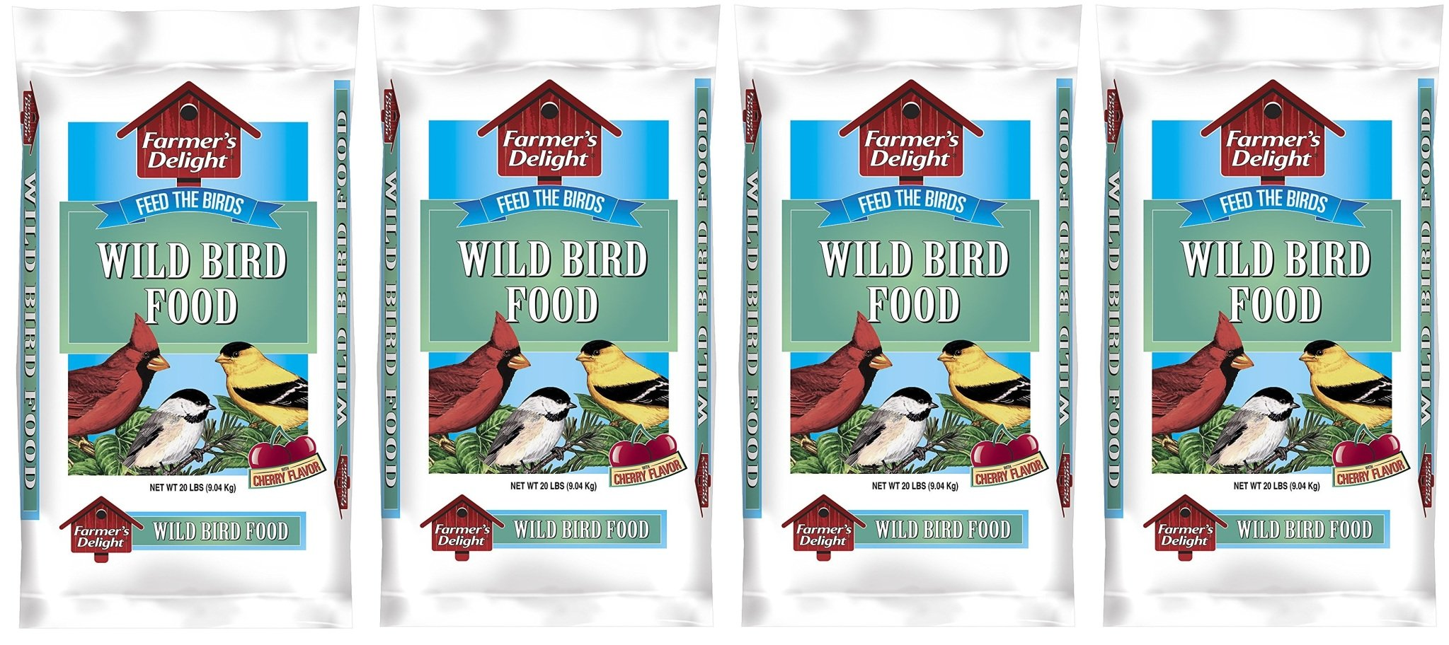 Wagners 53002 Farmers Delight Wild Bird Food, With Cherry Flavor, 20-Pound Bag, Qpwutz 4Pack (20-Pound Bag) by Wagner's