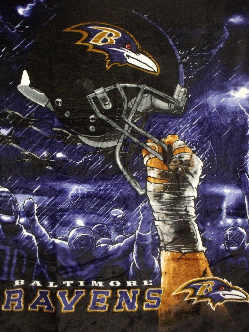 NFL Baltimore Ravens 60-Inch-by-80-Inch Plush Rachel Blanket, Sky Helmet Design