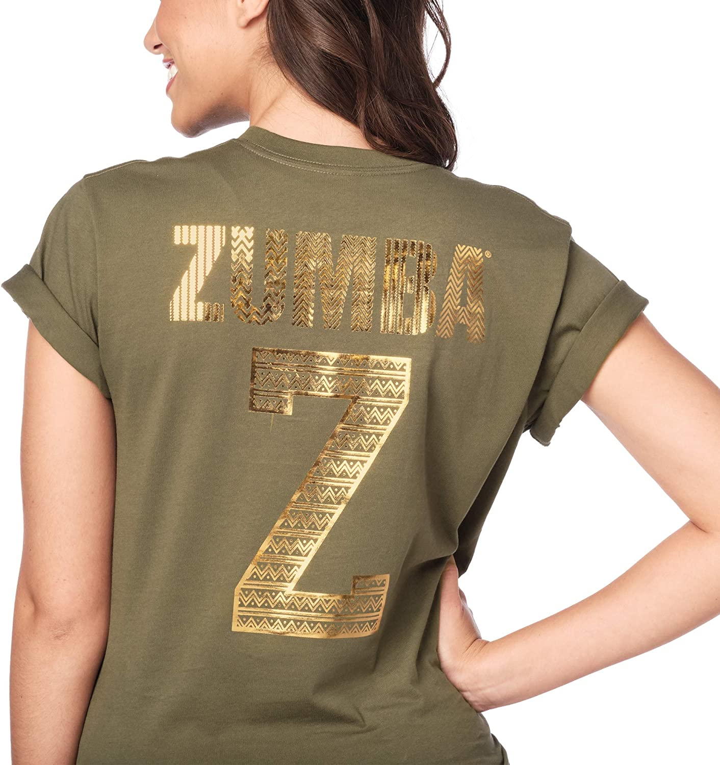 Seaweed M//L Zumba Loose Fitting Dance Fitness Graphic Tees Athletic Workout Top for Women