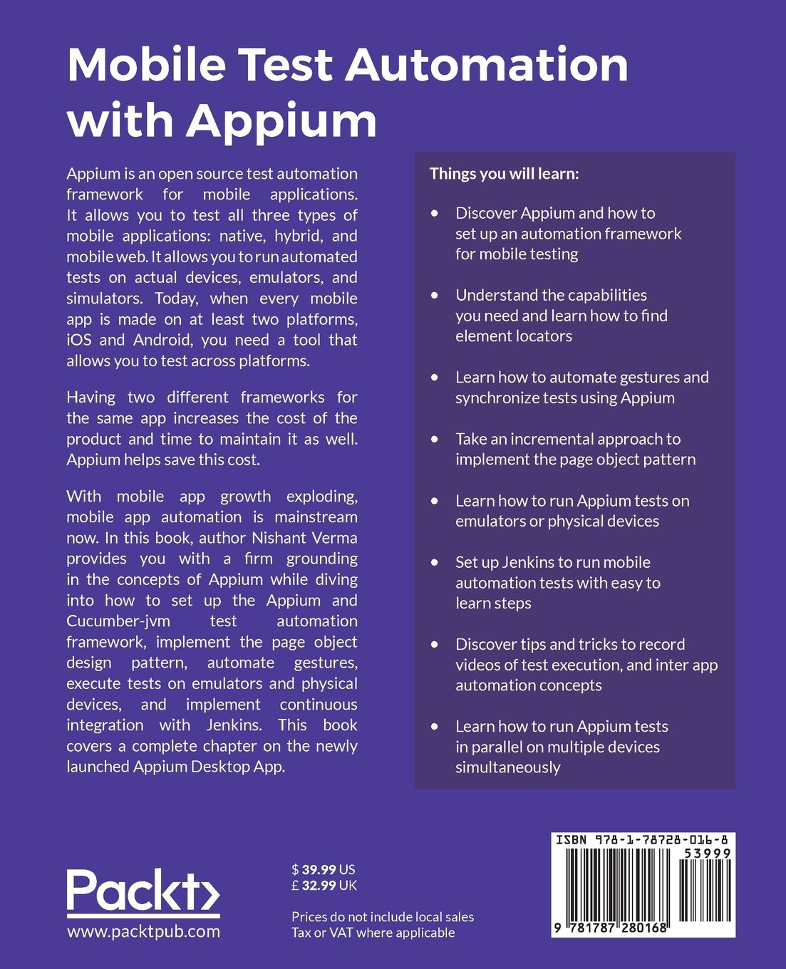 Mobile Test Automation with Appium: Mobile application testing made easy:  Nishant Verma: 9781787280168: Amazon.com: Books