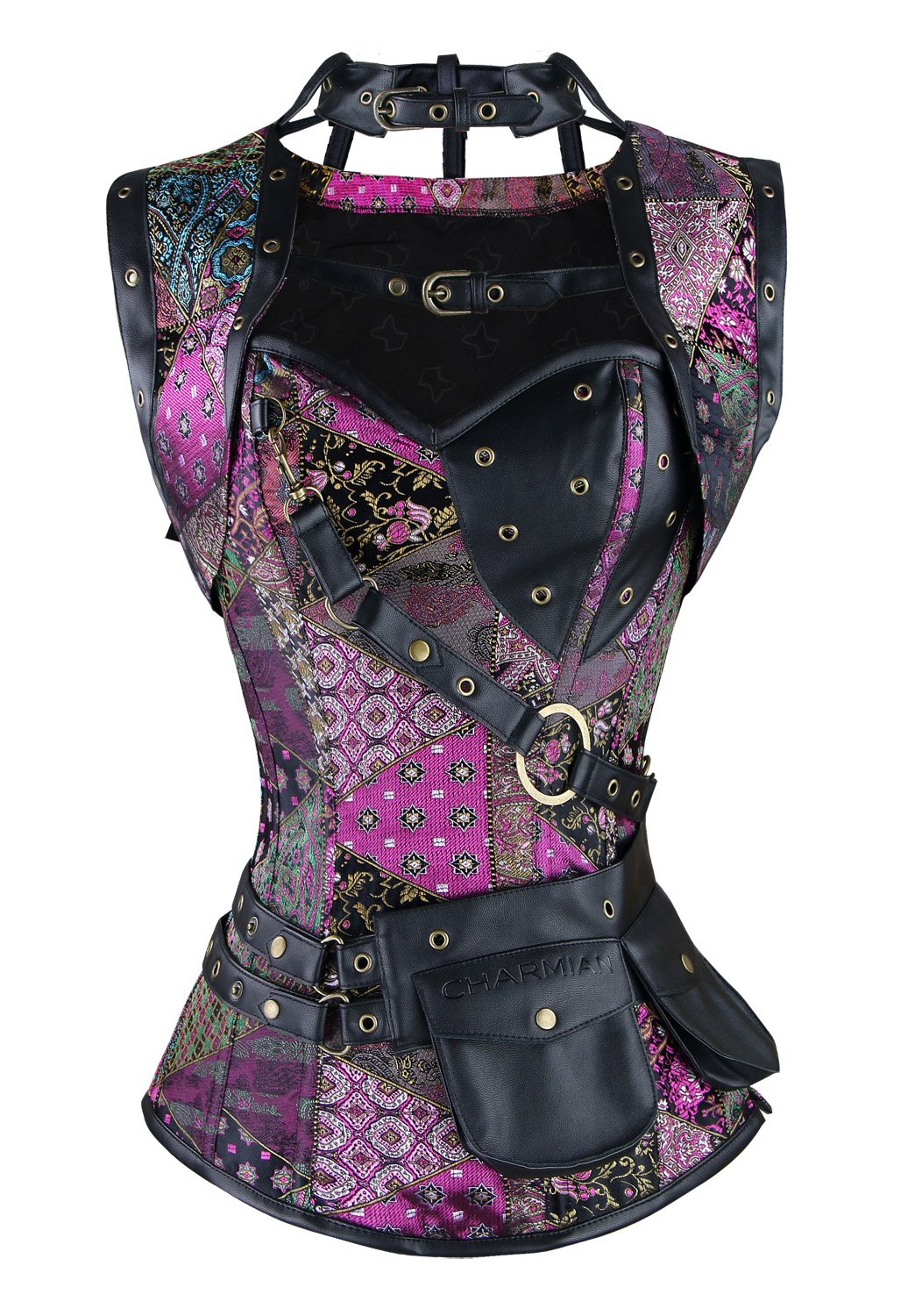 1681db7af8629 Charmian Women s Steampunk Spiral Steel Boned Vintage Retro Corset Tops  Bustier product image