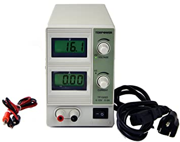 Tekpower HY1505D Linear Variable DC Power Supply, 0-15Volts, 0-5Amps, Dual  Digital Display