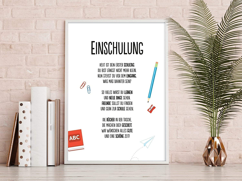 Geschenk Karte EINSCHULUNG Kunstdruck Schulanfang Schulbeginn Kind ...