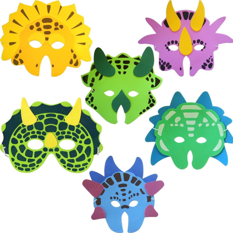 Pack of 6 Dinosaur Foam Face Masks (máscara/careta)