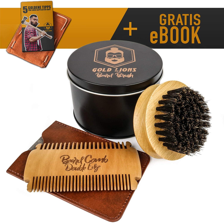 Bartkamm und Bartbürste Set