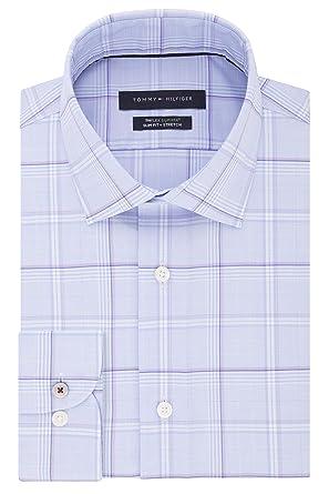 "f0625bfbf Tommy Hilfiger Men's Dress Shirt Slim Fit Stretch Check, Blue Frost,  14.5"" Neck"