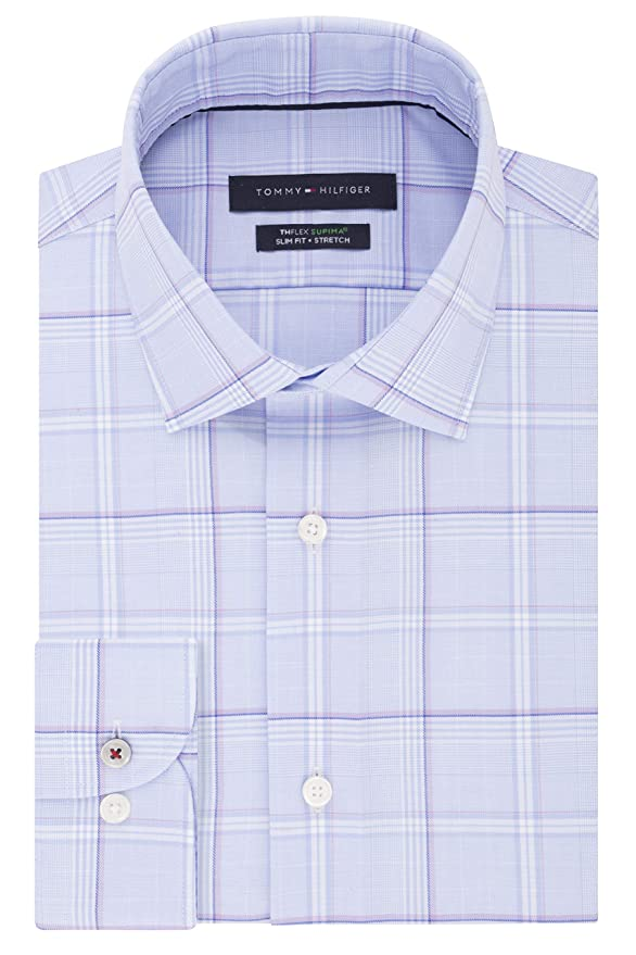 67277deaf Tommy Hilfiger Men's Dress Shirt Stretch Slim Fit Checks at Amazon Men's  Clothing store: