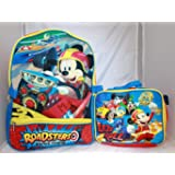 Disney Mickey Mouse Boys School Backpack Lunch Box SET Book Bag Kids