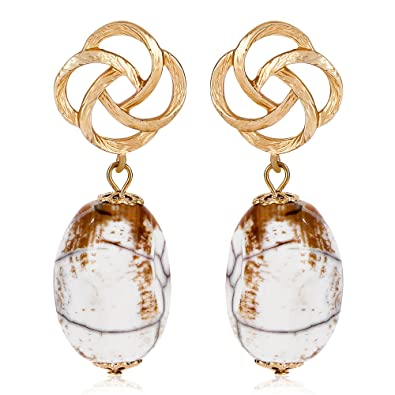 3f85c187b Buy Faryal Trendy Tiny Two Tone Agate Stone 18K Gold Plated Drop Earrings  Online at Low Prices in India | Amazon Jewellery Store - Amazon.in