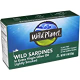 Wild Planet Wild Sardines in Extra Virgin Olive Oil, 4.375-Ounce Tins (Pack of 6)
