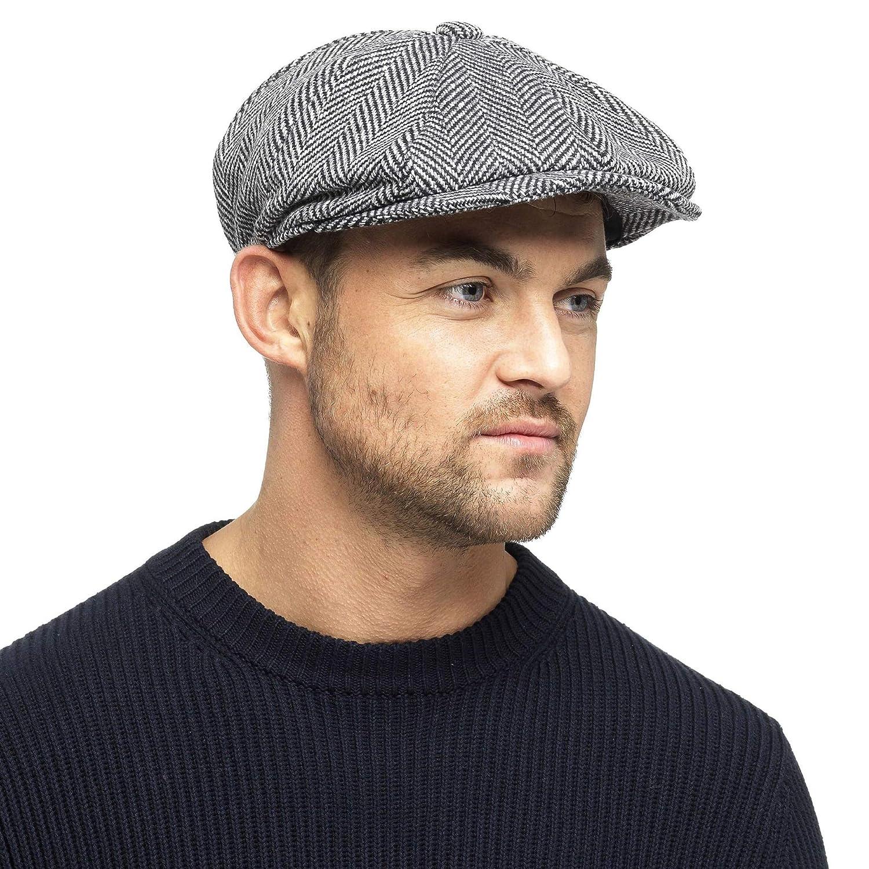 9dc33697f Black Grey Herringbone Newsboy 8 Panel Baker Boy Tweed Flat Cap Mens Gatsby  Hat