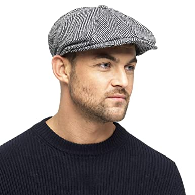 752c0e925a29 Black Grey Herringbone Newsboy 8 Panel Baker Boy Tweed Flat Cap Mens Gatsby  Hat: Amazon.co.uk: Clothing