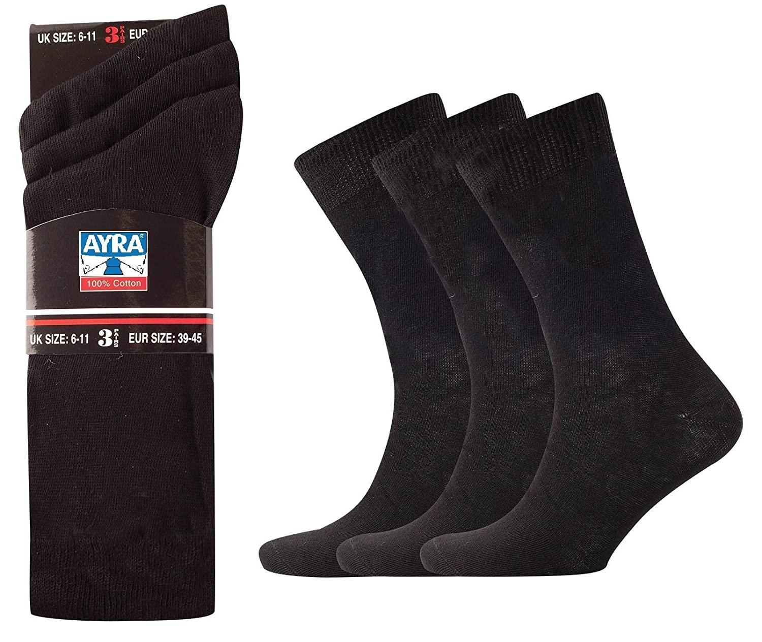 12 Pairs Mens 100% Cotton Black Socks Uk size 6 - 11: Amazon.co.uk: Clothing