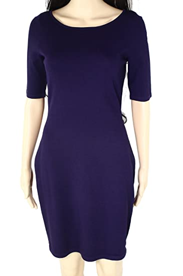 5c4ad83b296 Lauren Ralph Lauren Womens Knit Short Sleeves Cocktail Dress Purple ...