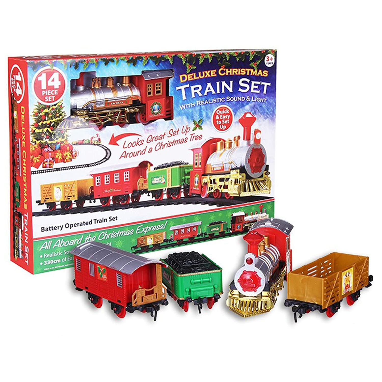Deluxe 14Pc Christmas Train Set Festive Express Easy Click Track