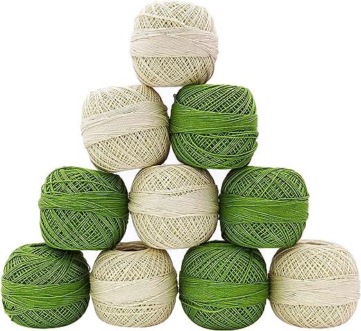 10 piezas Verde Blanco Hilo Hilo Madeja Tatting ganchillo algodón ...