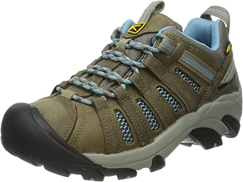 KEEN Women's Voyageur Hiking Shoe, Brindle/Alaskan Blue, 5 M US