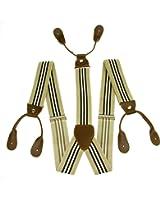 Enwis Suspenders Braces Polyester Elastic Adjustable Button Holes Stripe Beige White