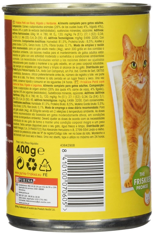 Purina Friskies Paté Pienso para Gato Adulto Buey y Higado 24 x 400 g: Amazon.es: Productos para mascotas