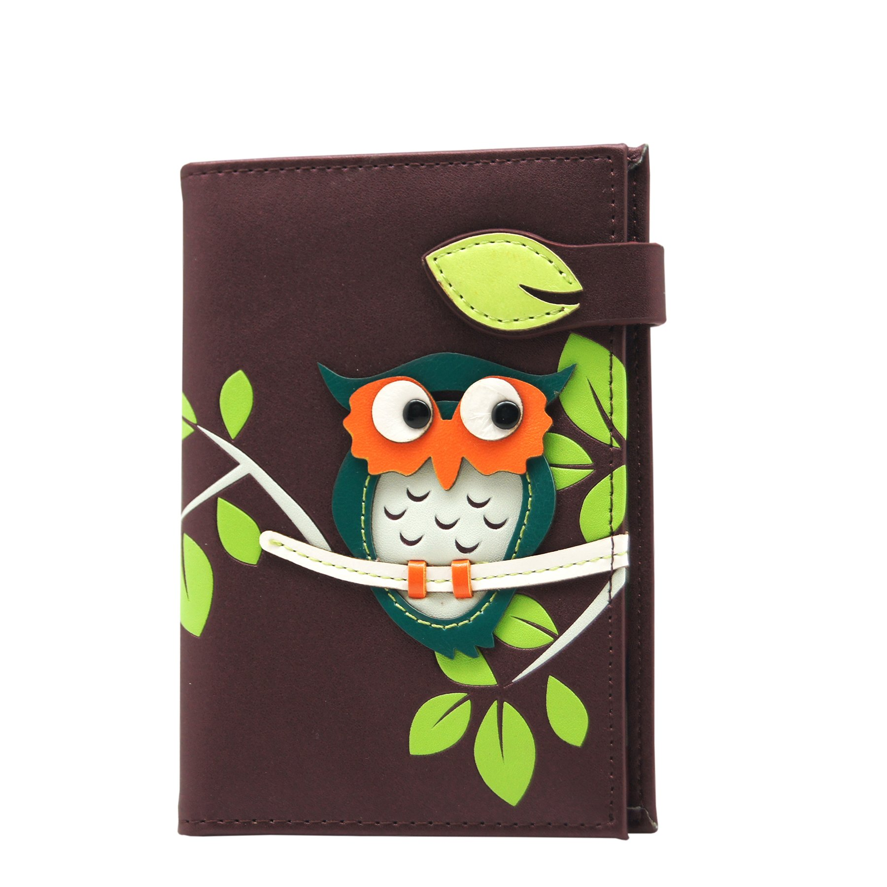 RFID Blocking Passport Holder for Men & Women - Appliqued Owl Design - Purple Color. Menkai brand.