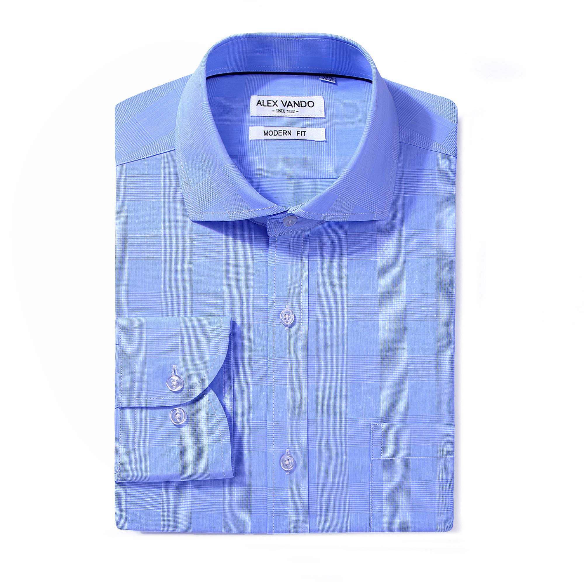 Alex Vando Men's Regular Fit Long Sleeve Dress Shirts,Blue Plaid,17 34/35