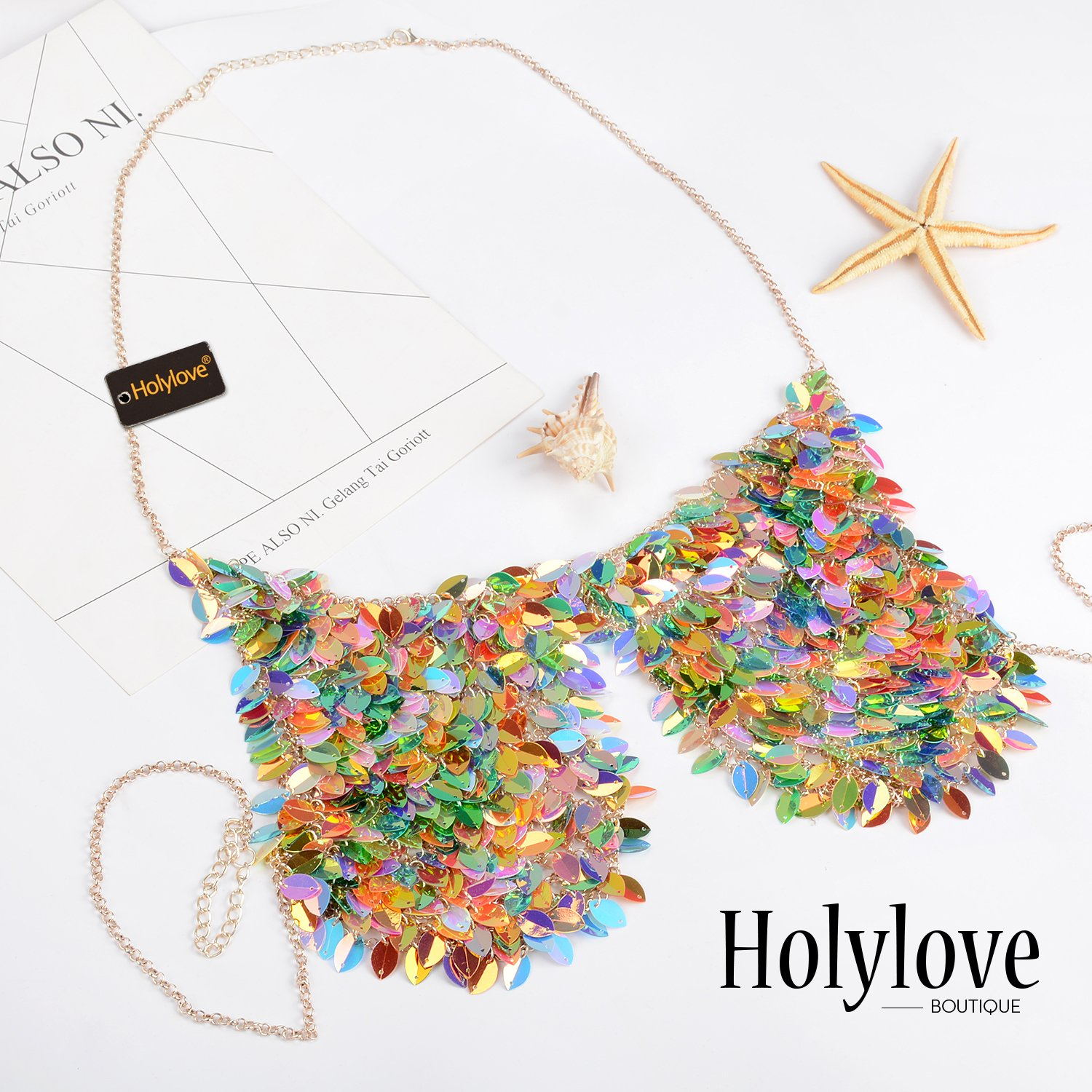 Holylove Paillette Sequin Bra Tops Body Chain Necklace Jewelry Colorful Sexy Charm for Women Lady Summer Beach Hawaiian Style Bikini Beachwear - HLBN5 Colorful by Holylove (Image #2)