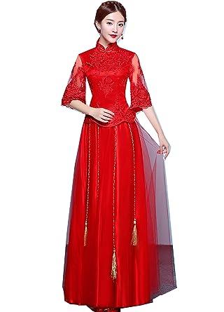 cc63e0ed12a Amazon.com  Shanghai Story Half Sleeve Chinese Wedding Lace Qipao  Traditional Clothing Set  Clothing