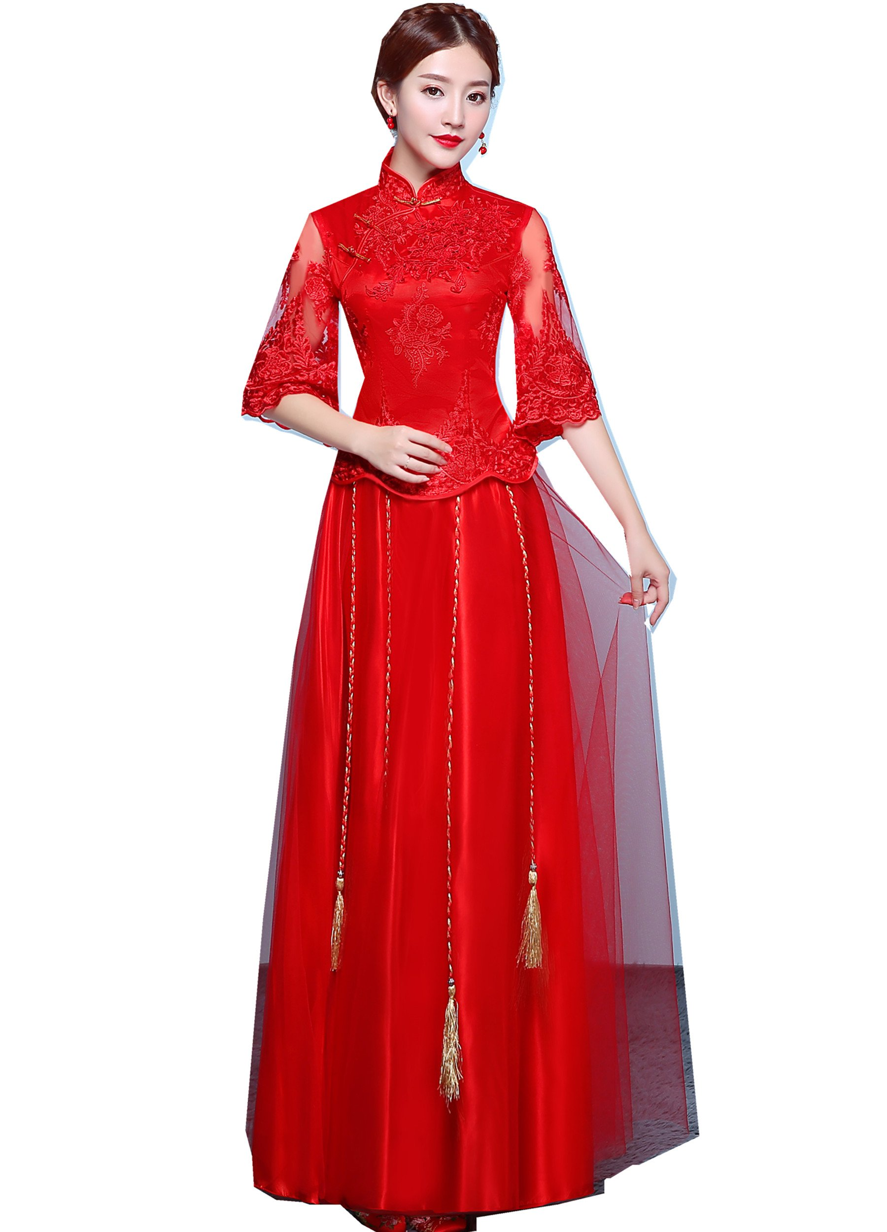 Shanghai Story Lace Half Sleeve Chinese Wedding Qipao Traditional Clothing 2XL Red