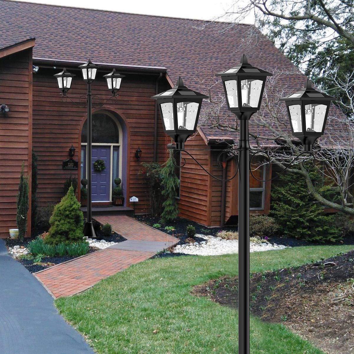 "72"" Solar Lamp Post Lights Outdoor, Triple-Head Street Vintage Solar Lamp Outdoor, Solar Post Light for Garden, Lawn, Planter Not Included"