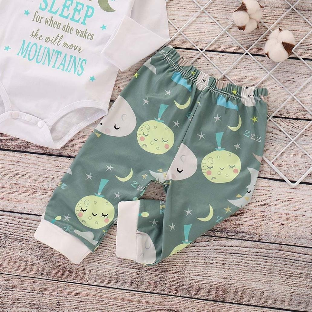 FORESTIME Baby Girls 2pcs Outfit Leatter Print Cotton Romper Top Moon Cartoon Elastic Pants Casual Winter Clothes