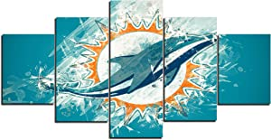 TYHC Art Miami Dolphins Art Canvas Posters Home Decor Wall Art Unframed 3 Pieces Paintings for Living Room HD Prints Pictures A