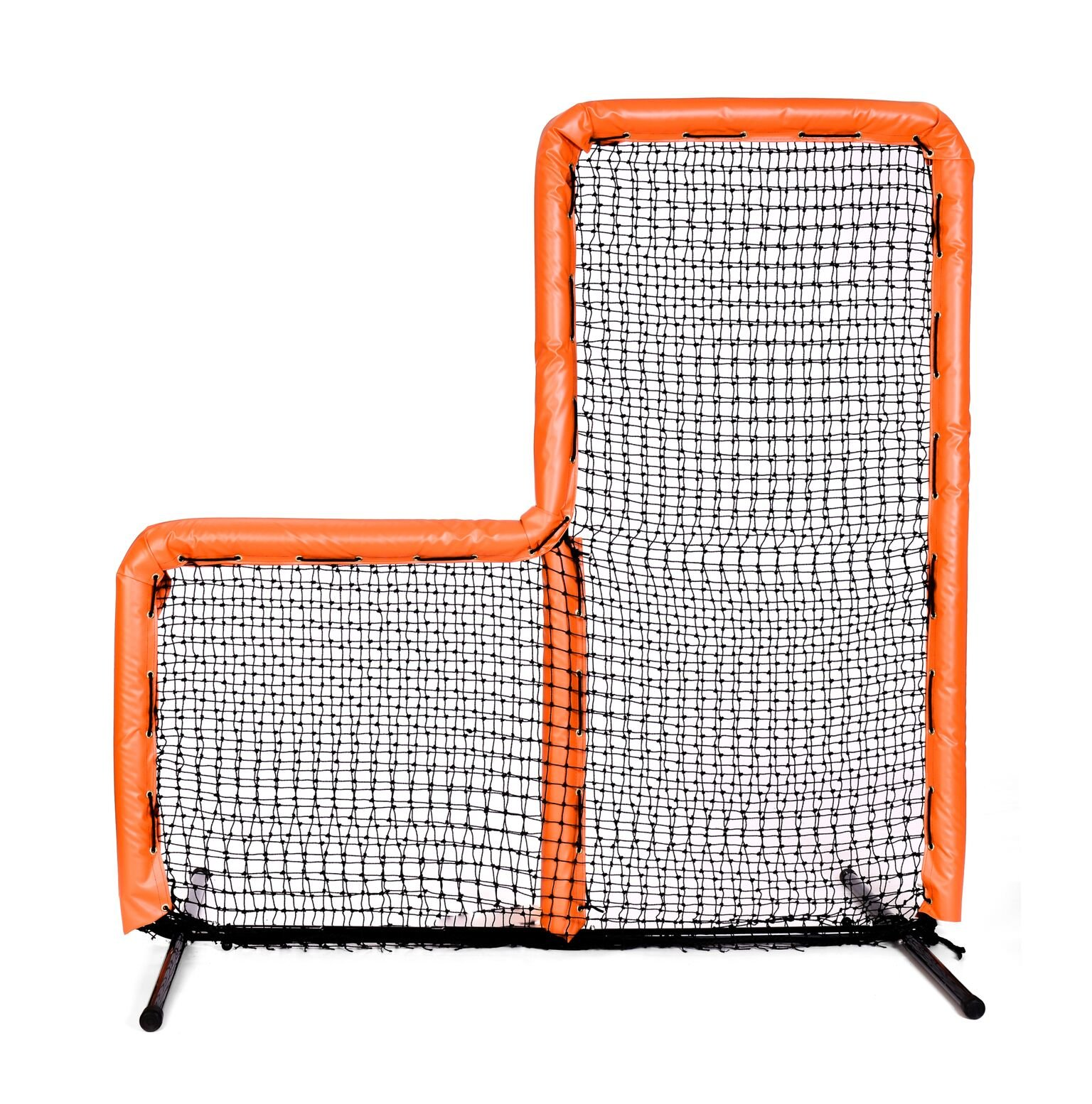 Armor Series Pitching Screen Baseball Softball Practice Net with Screen Bulletz Leg Caps. 7x7 L-Screen Perfect for Baseball and Softball Batting Practice. Choose Padding Color. (Orange) by Armor