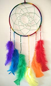 Now Is Now Rainbow Dream Catcher Color Feather Beaded Wheel Dreamcatcher 6 x 15 inches (15.2 x 38 cms)