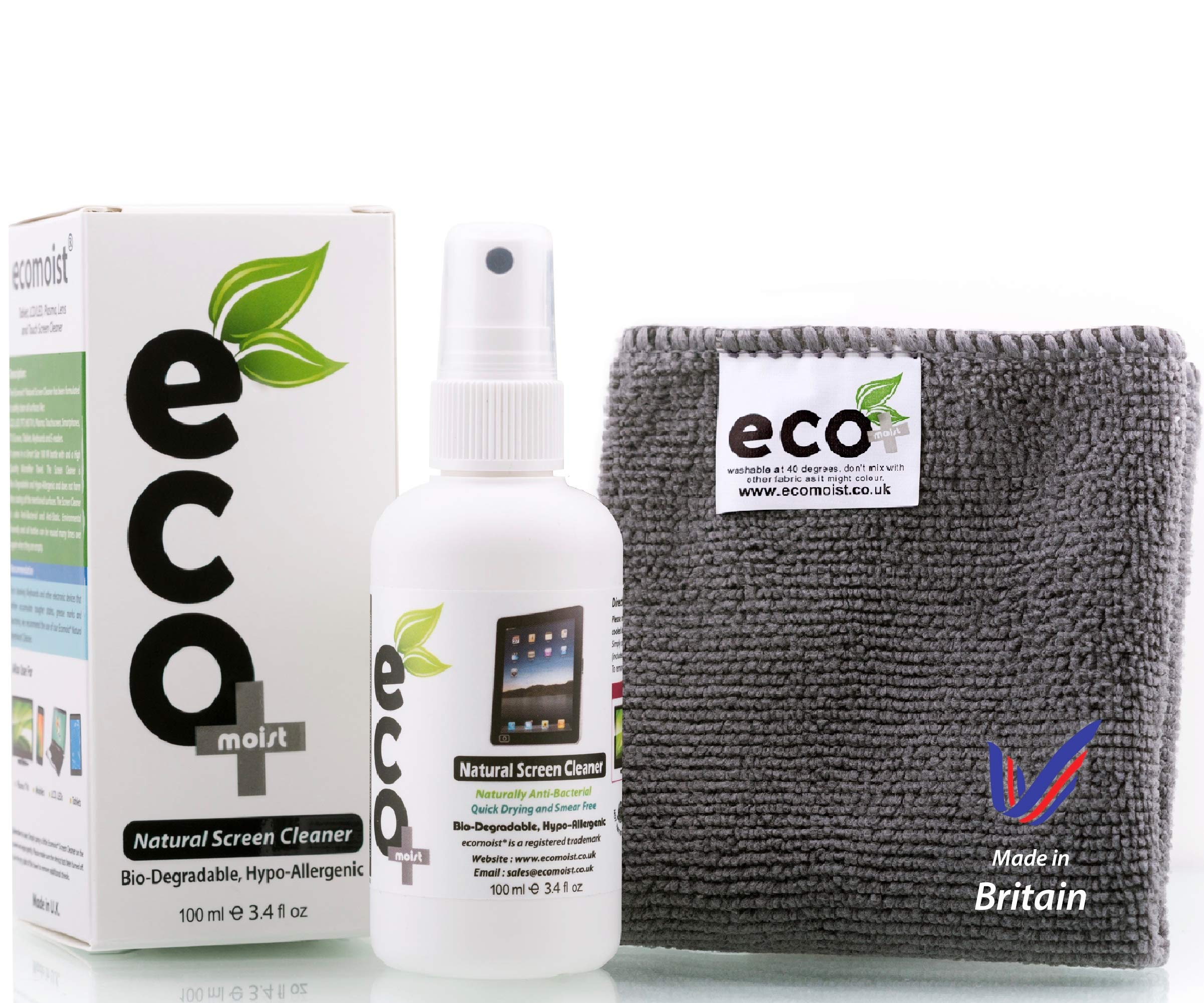 Ecomoist Natural Screen Cleaner 100ml with Fine Microfiber Towel product image