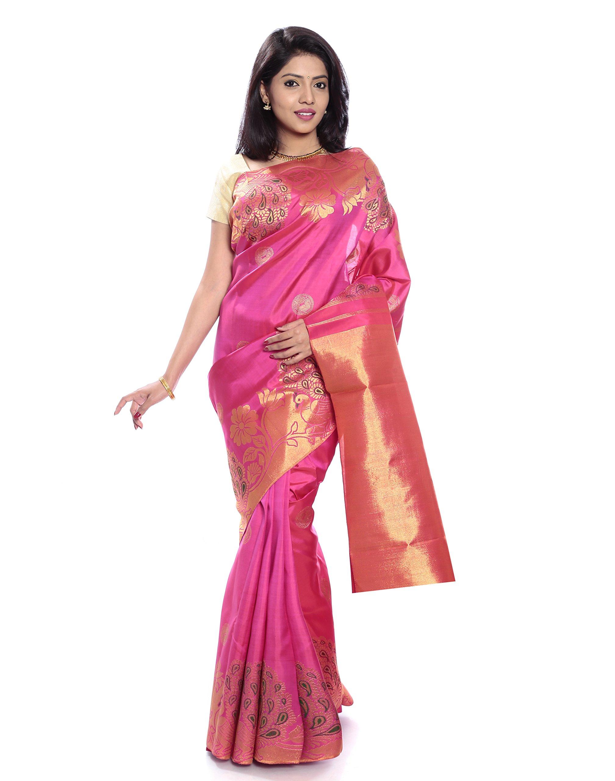 Mandakini — Indian Women's Kanchipuram - Handloom - Pure Zari & Pure Silk Saree (Pink ) (MK215)
