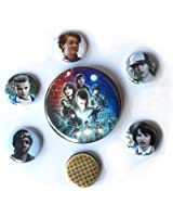 Stranger Things Inspired Button Set with pinbacks, Stranger Things, Barb, Eleven, Mike, Lucas, Dustin and an Eggo