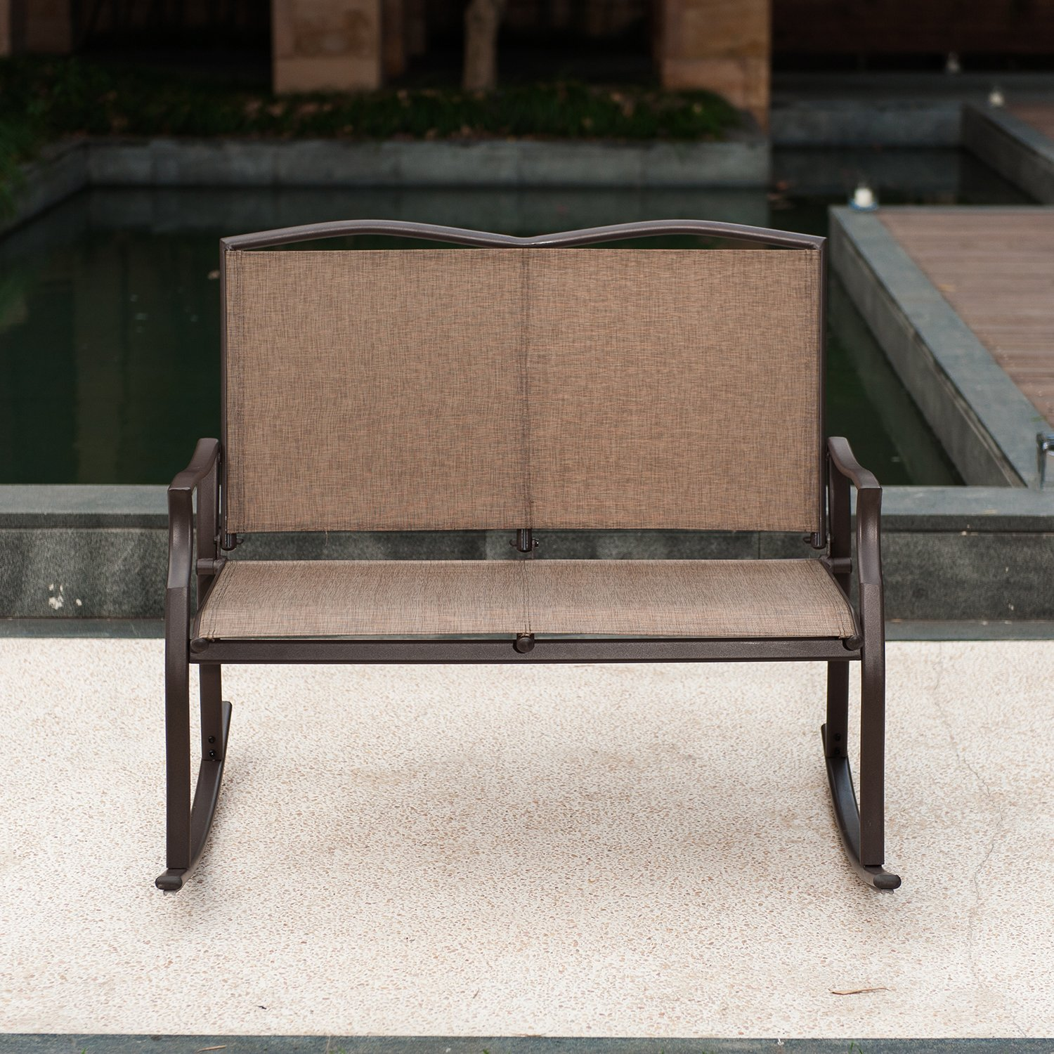 Patio Loveseat Bench, Glider Swing Rocking Chair with Steel Frame for 2 Persons by SLN (Image #3)