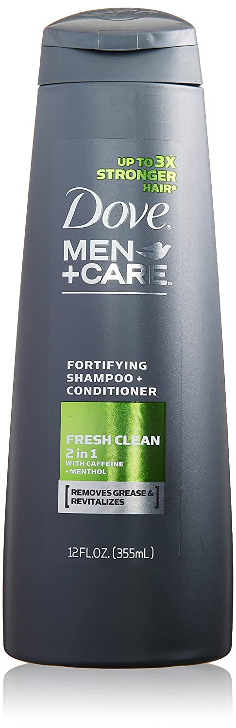 Dove Men + Care 2 in 1 Shampoo & Conditioner, Fresh Clean 12 oz (Pack of 2)