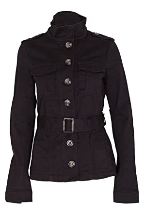 LADIES MILITARY STYLE ARMY JACKET WOMENS BELTED COTTON COAT BLACK KHAKI  STONE UK 6 8 10 6c0a00e12a