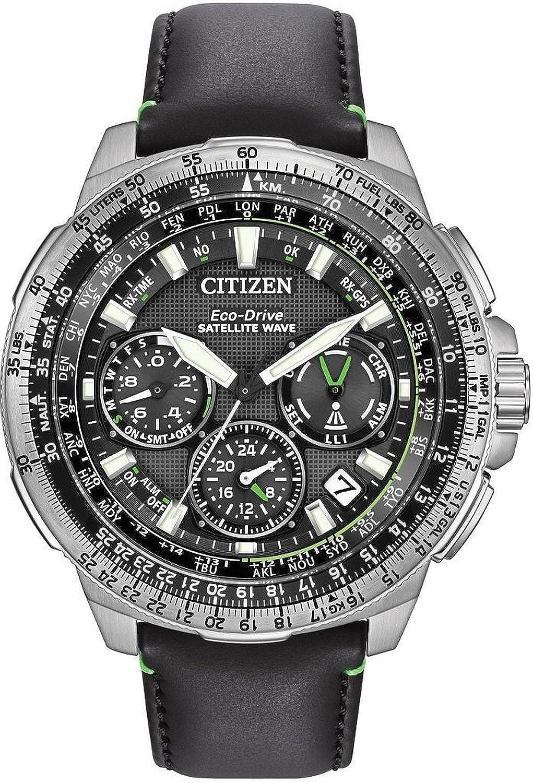 シチズン Citizen Men's Promaster Navihawk GPS Stainless Steel and Leather Luxury Watch, Color:Black (Model: CC9030-00E) [並行輸入品] B01KC71MD4