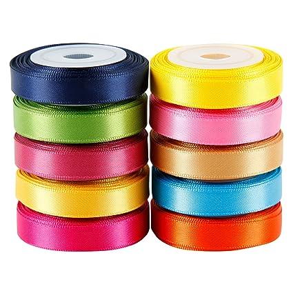 amazon com laribbons solid color satin ribbon asst 2 10 colors 3