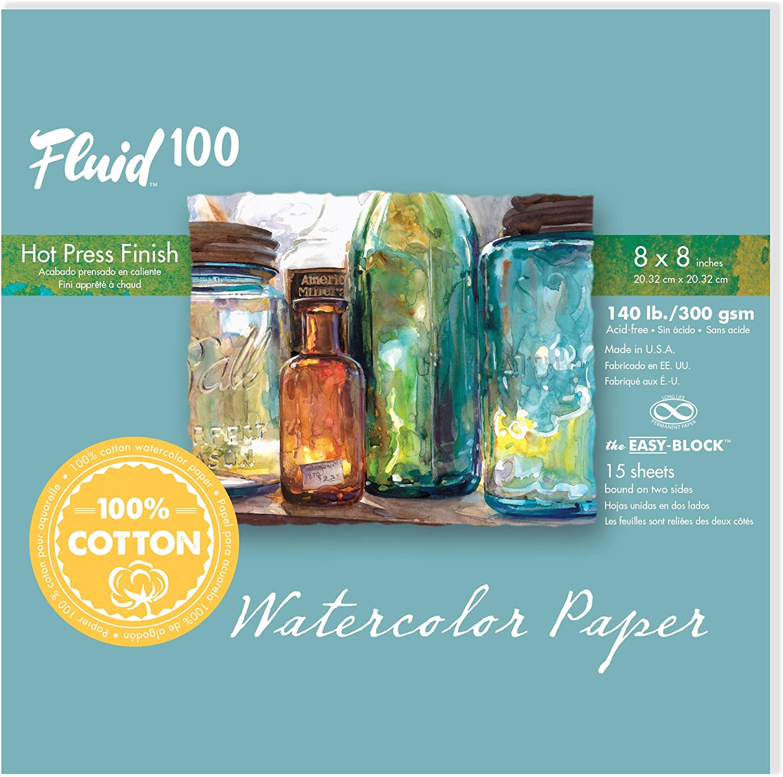 15 Sheets Fluid 100 Watercolor Paper 811705 140LB 100/% Cotton Cold Press 5 x 7 Pochette